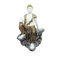 Big Polyresin Buddha Statue Sitting On Stone/Pahar