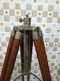 Nautical Vintage Look Brass Floor Lamp Wooden Tripod Stand Best Nautical Item
