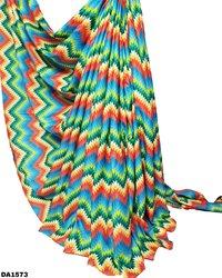 Multicolored Zigzag Design Digital Print Galaxy Cotton Fabric