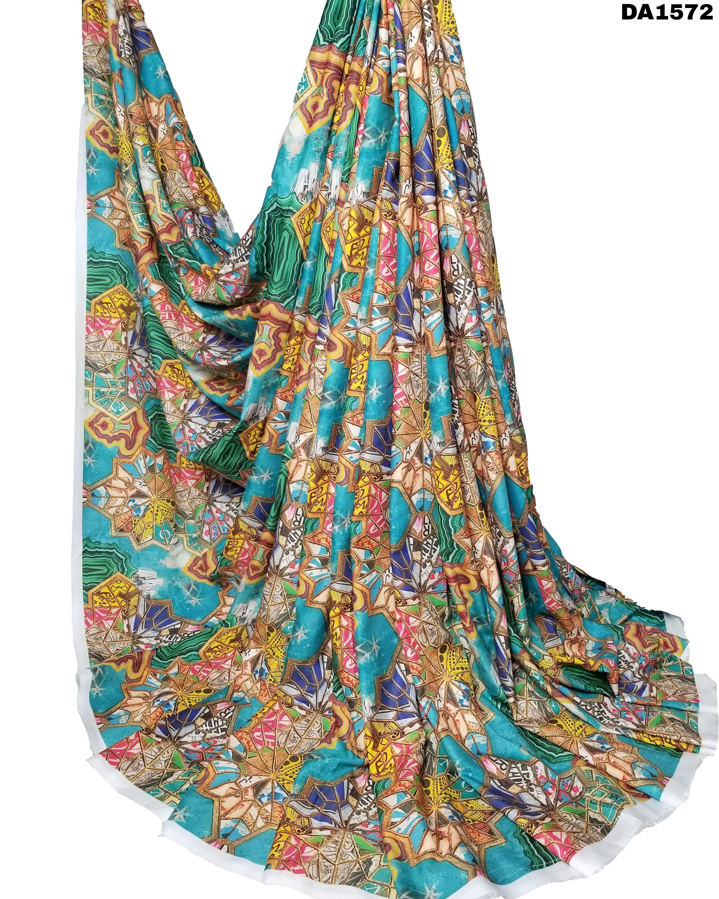 Multicolored Digital Print Design On Rayon Silk Fabric