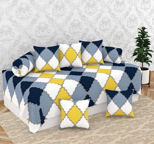 Divine Overseas Micro Fabric Soft (Designer Diwan Set Pack of 8, Yellow Grey Abstract)