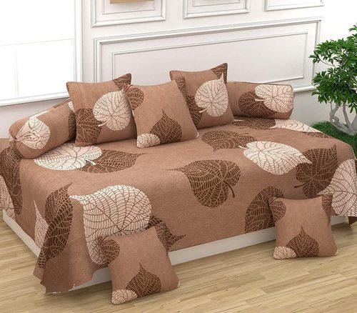 Divine Overseas Micro Fabric Soft (Designer Diwan Set Pack Of 8, Brown Leaf)