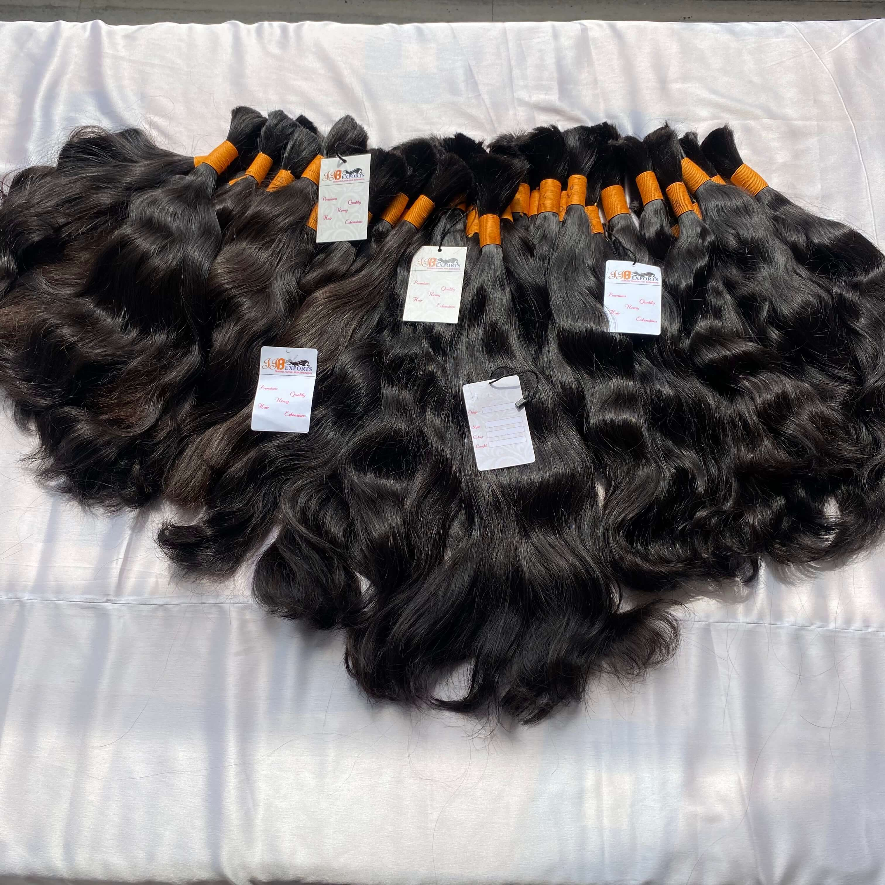 Soft & silky natural indian raw unprocessed wavy bulk human hair extensions