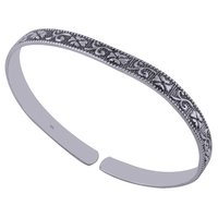 Plain Embossed 925 Sterling Solid Silver Bangle