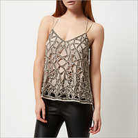Embellished Sequin Tops With Straps