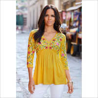 Ladies Cotton Floral Embroidery Top