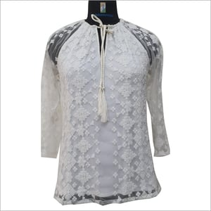 Cotton And Net Embroidery Top