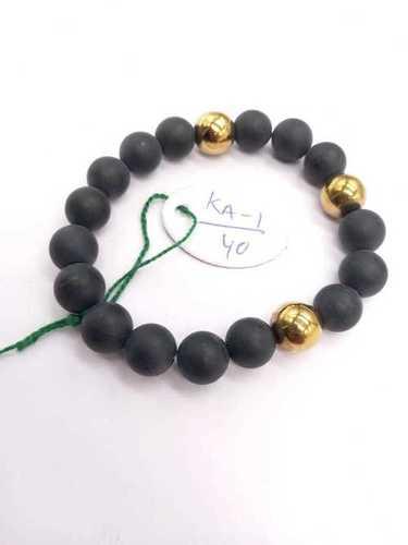 Mattle Black Onyx With Golden Hematite Bracelet