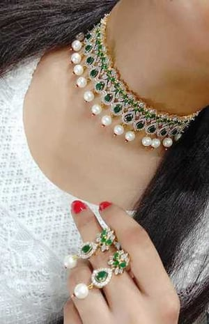 Green And White American Diamond Necklace Sets