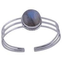 Rainbow Natural Gemstone Oval 925 Sterling Solid Silver Rawa Handmade Bangle