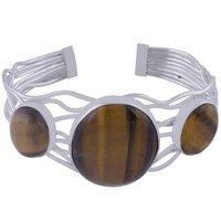 Tiger Eye Natural Gemstone Round 925 Sterling Solid Silver Handmade Bangle
