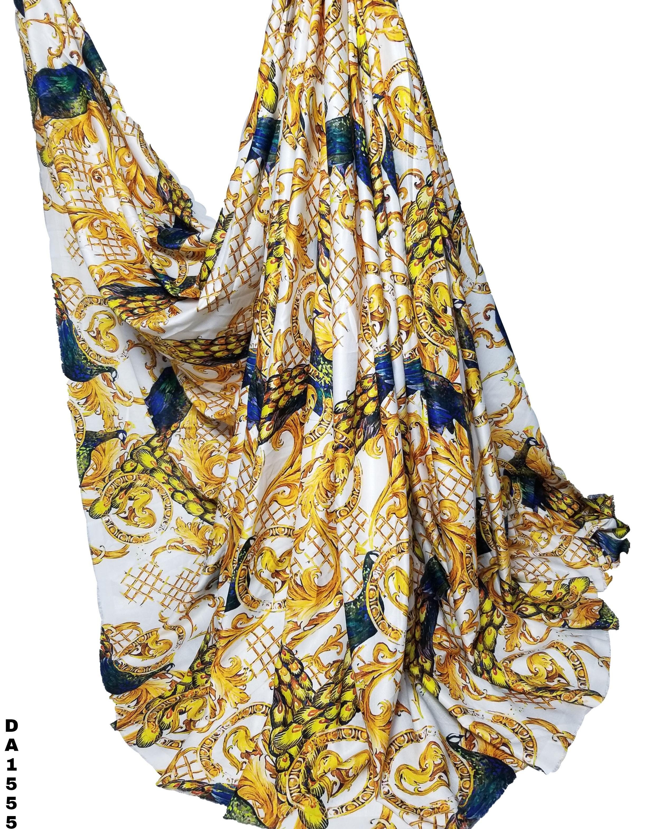 Golden Peacock Design Khadi Rayon Digital Print Fabric