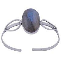 Amethyst Natural Gemstone Oval 925 Sterling Solid Silver Handmade Bangle