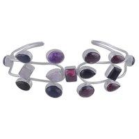 Multicolor Natural Gemstones All Shapes 925 Sterling Solid Silver Handmade Bangle