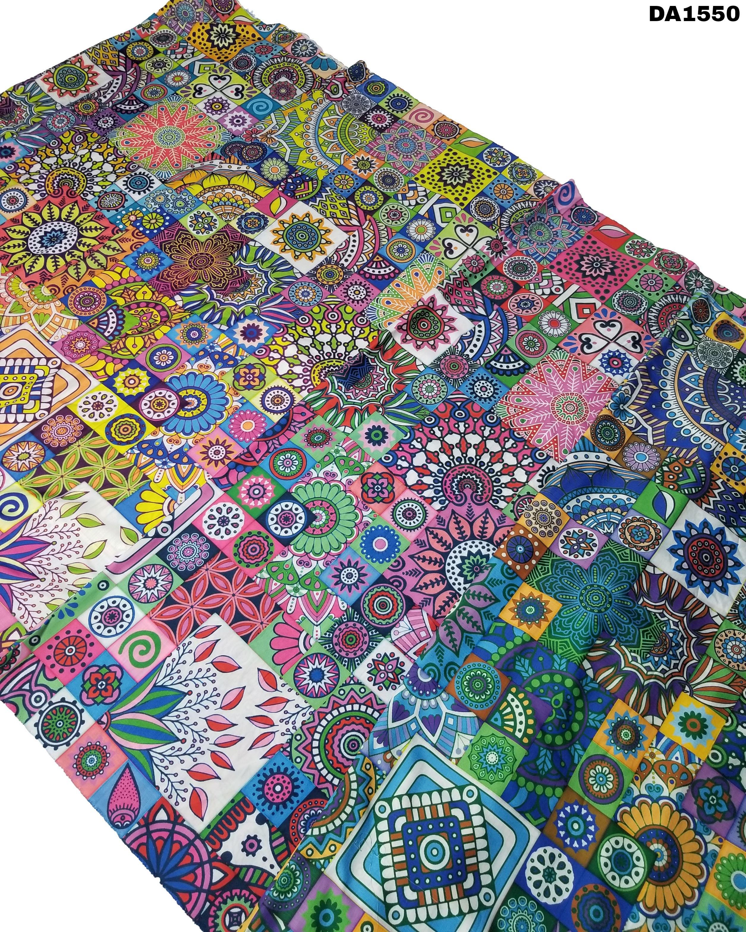 Multicolored Digital Prints On Semi Linen Fabric