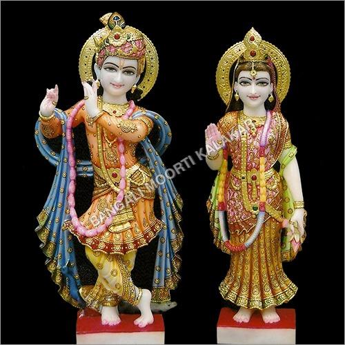 Marble Multicolor Radha Krishna Statue