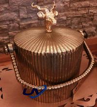 Gold Reindeer Head Ice Bucket