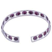 Garnet Natural Gemstone Round 925 Sterling Solid Silver Handmade Bangle