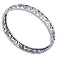Plain Jali Cut 925 Sterling Solid Silver Bangle