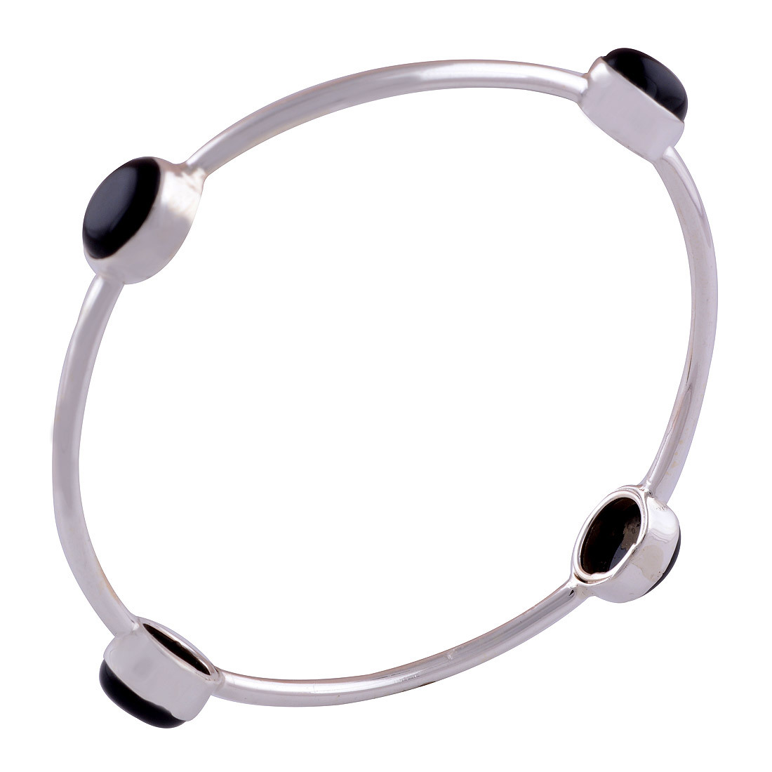 Rainbow Natural Gemstone Oval 925 Sterling Solid Silver Handmade Bangle