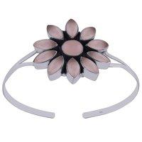 Garnet Natural Gemstone Flower 925 Sterling Solid Silver Handmade Bangle