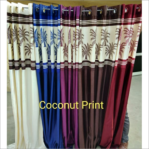 Long Crush Patch Coconut Printed Curtains