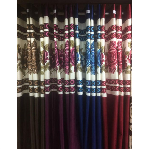 Long Crush Patch Printed Curtains