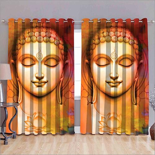 Lord Buddha Printed Window Curtains
