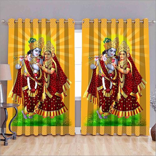 Lord Radha Krishna Printed Curtains