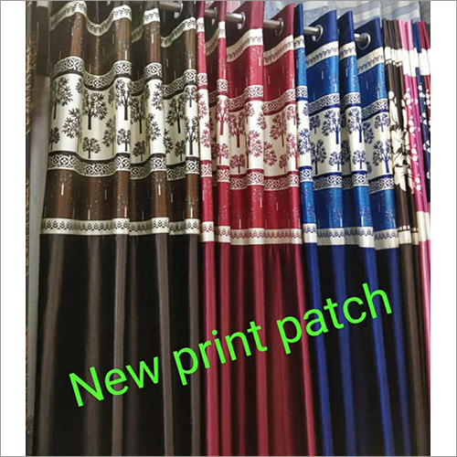 Printed Long Patch Crush Curtains