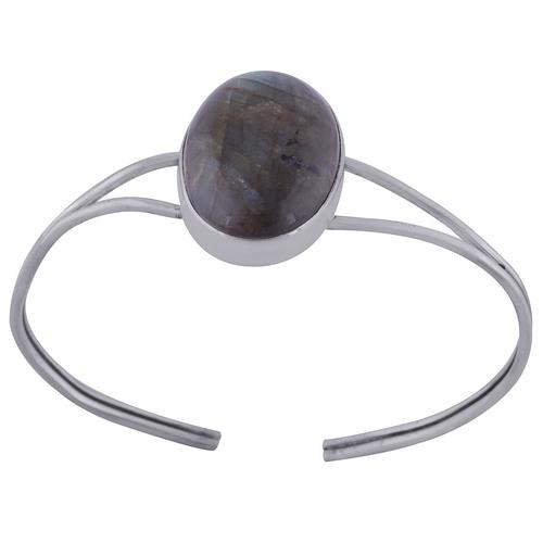 Labradorite Natural Gemstone Oval 925 Sterling Solid Silver Handmade Bangle