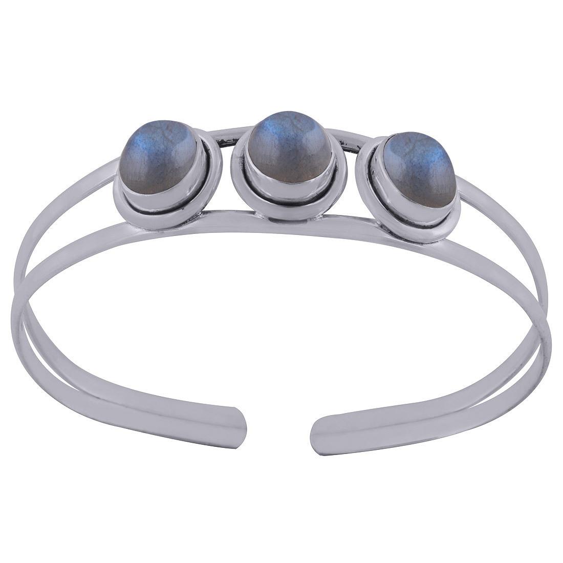 Black Onyx Natural Gemstone Oval 925 Sterling Solid Silver Handmade Bangle