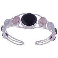 Multicolor Natural Gemstones Oval/round 925 Sterling Solid Silver Handmade Bangle