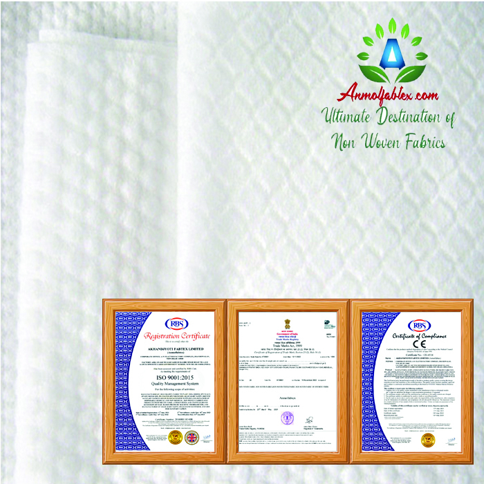 CUSTOMISED SPUNLACE NONWOVEN FABRIC WITH SMOOTH HANDS FEELING INTERNATIONAL STANDARD