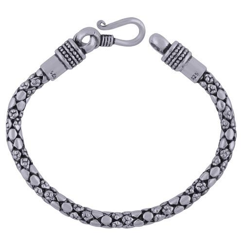 Textured Plain 925 Sterling Solid Silver Bracelet