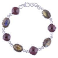 Multiple Natural Gemstone 925 Sterling Solid Silver Oval/square Cabochon Handmade Bracelet