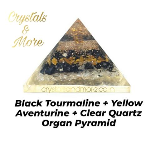 Black Tourmaline + Yellow Aventurine + Clear Quartz Orgone Pyramid