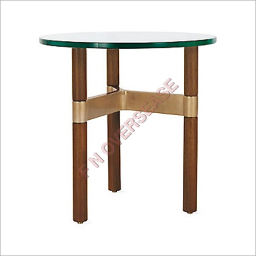 Wood Table With Matt Brass Finish Table