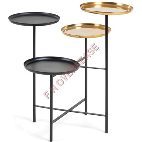Brass Iron Side Table With Matt Black Finish