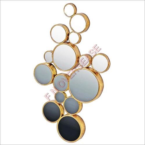 Iron Frame With Golden Foil Finish Mirror