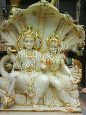 Marble Laxmi Narayan Statue With Shesha-naga