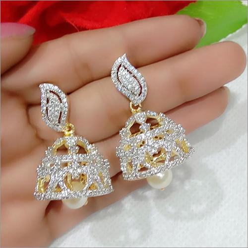American Diamond And Pearl Imitation Jhumka Earrings