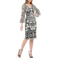 Beaded Black & White Short Dress