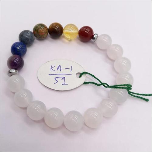 7 Chakra Bracelet With White Quartz