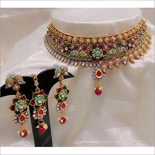 Heavy Kundan Lac And Meenakari Necklace Set With Maang Tikka Bridal Jewelry Set