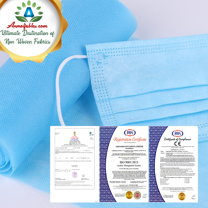 BREATHABLE ANTIBACTERIAL BLUE COLOR SMS NON WOVEN FABRIC FOR FACE MASK