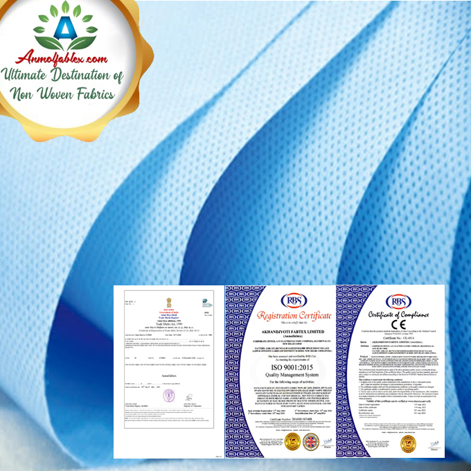 LIGHT BLUE COLOR 25 GSM STERILE SURGICAL USE SMS NON WOVEN FABRIC