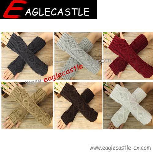 Women's Winter Rhombus Knitted Fingerless gloves Long Wrist Arm Knit Warm Mitten