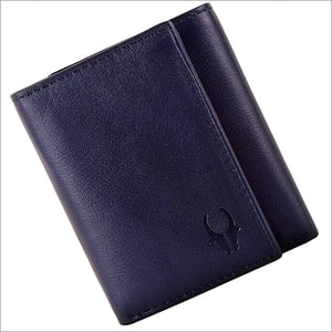 Mens Blue Trifold Leather Wallet