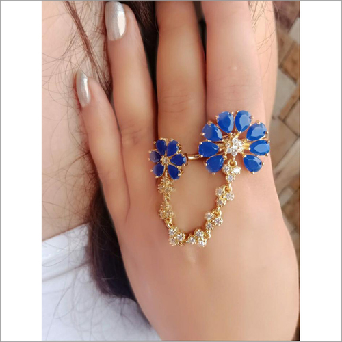 Blue Crystal & White Rhinestone Dual Finger Ring